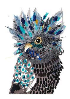 Sparking Joy - a vibrant, singing, happy banksia from Grotti Lotti Bird Artwork, Arte Popular, Illustrations, Aboriginal Art, Art Plastique, Animal Paintings, Pet Birds, Collage Art, Art Lessons