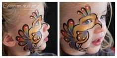 Rainbow Parrot, face painted by Stephanie, www.colour-me-in.co.nz. The child's eye comes alive with this design, which can be easily modified to form a chicken or a kiwi.
