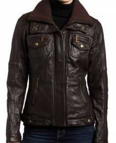 Love this! Double Collar Brown Bomber Leather Jacket by PromaEnterprises, $179.99