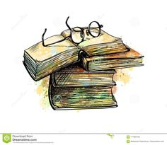 Buy Eyeglasses on Top Stack Books by kapona on GraphicRiver. Eyeglasses on top stack books and open book from a splash of watercolor, hand drawn sketch. Vector illustration of pa. Tattoo Buch, Book Tattoo, Book Drawing, Line Drawing, Familie Symbol, Watercolor Books, Digital Art Girl, Stack Of Books, Book Images