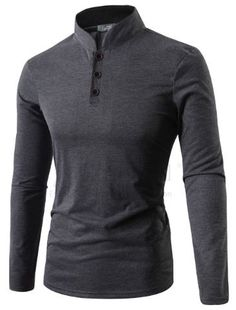 - Mens collarless long sleeve polo for the stylishmen - Lovely design offers a trendy stylish look - Great for the workplace or casual outings - Made from high quality material - Available in 4 colors Latest Clothes For Men, Fashion Night, Fashion Ideas, Long Sleeve Polo, Mens Clothing Styles, Sport Clothing, Stylish Men, Sport Outfits, Men's Outfits