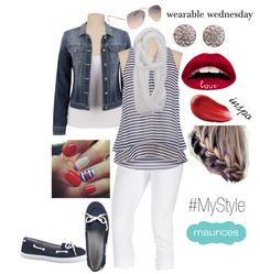 wearable wednesday {all things indigo} not big into the bright red lipstick, but everything else is prefect :)