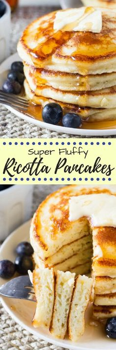 Ricotta pancakes have a deliciously creamy flavor and the fluffiest texture. The perfect way to make your pancakes extra special. Bacon Breakfast, What's For Breakfast, Breakfast Dishes, Breakfast Recipes, Breakfast Pancakes, Crepes, Lemon Ricotta Pancakes, Pancakes And Waffles, Fluffy Pancakes