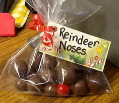 Xmas gifts: I always do this for classroom treats . ( malt balls, and re: Choc. Covered dried cherry)