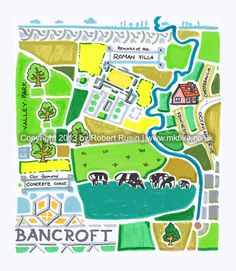 Illustration map of Bancroft estate (part of Milton Keynes, England) with its famous Concrete Cows sculpture and remains of the Roman Villa, dated back to at least 340AD if not earlier. Artwork by Robert Rusin.