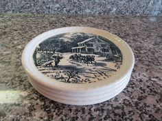 Four Currier and Ives (USA) salad plates for one price by HeathersCollectibles on Etsy