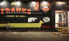 """LOVE that the dog says """"Fancy huh?"""" Fancy Franks Toronto."""
