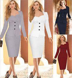 AU-Women-Elegant-Business-Long-Sleeve-Bodycon-Cocktail-Party-Wiggle-Pencil-Dress