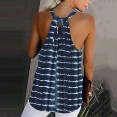 Casual Halter Back Hole Tie-Dyed Vest SKU Brand Name Mattecoco Collar type A collar,Department of Leadership Material linen pattern_type. Diy Clothes, Clothes For Women, Sewing Blouses, Look Fashion, Womens Fashion, Hiking Fashion, Creation Couture, Casual Tops, Beach Casual