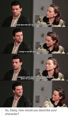 the picture of them at the bottom oh my goodness so adorable. <><> Daisy Ridley and Oscar Isaac. Agree with the last pinner's comment. :)
