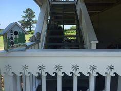 Decorative Azek Vinyl House Trim, Porch Columns Brackets, Porch Railing Panels, Exterior House Gates In Coastal Caribbean Styles Exterior Vinyl Shutters, Louvered Shutters, Exterior Trim, Porch Trim, Roof Trim, Front Porch, Beach House Plans, Beach House Decor, Vinyl Window Trim