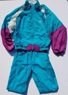 Reebok Warm Track Sweat Suit Blue White purple Jogging Pant Jacket Set 90's  #Reebok #TracksuitsSweats