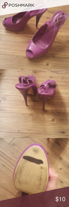 Bright Purple Higj Heels Purple heels, gently worn. Some wear on the bottom as shown but otherwise in great condition. Shoe Dazzle Shoes Heels