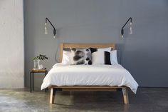 Huguenot Bed by Pedersen + Lennard Furniture, Home Etc, Bedside Lamp, Scandinavian Bedroom, Cool Beds, Bedroom Inspirations, Bed, Mattress Design, Main Bedroom