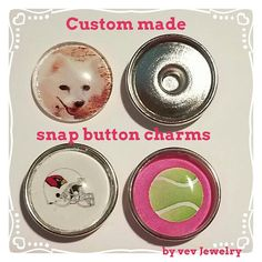 Custom photo snap button charm by vevJewelry on Etsy
