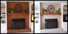 I painted the fireplace brick with an amazing matte finished paint kit and it took me less than a day. The truly amazing part is tha. White Wash Brick Fireplace, Brick Hearth, Paint Fireplace, Brick Fireplace Makeover, Fireplace Hearth, Fireplace Remodel, Fireplace Design, Fireplace Ideas, Paint Brick