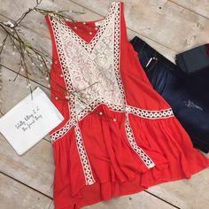 Tangerine orange and cream lace boho vintage chic tank.  Summer looks and styles  date night #datenight #cuteclothes  #boutique #outfitideasBoutique in Redwood Falls MN. Find unique girlfriend gifts, women's clothing, jewelry, handbags as well as baby gifts and clothing in our boutique.
