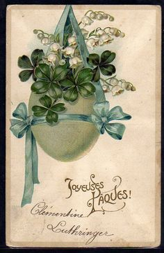 ~FV039 Paques OEUF TREFLES MUGUET LILY of the VALLEY FANTAISIE  Gaufrée RELIEF ~