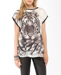 $17.80 Longline Tiger Contrast Top | FOREVER21 - 2014305501