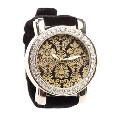 Brocade Watch with Black Velvet Strap.
