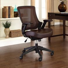 Modway Veer Mid Back Mesh Office Chair Color Brown Eei 289