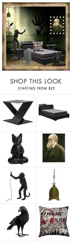 """Dark Wall"" by ragnh-mjos ❤ liked on Polyvore featuring interior, interiors, interior design, home, home decor, interior decorating, Mobital, Seletti, Varaluz and Pottery Barn"