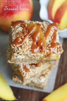 Toasted Coconut Peach Streusel Bars with Dulce de Leche {gf}