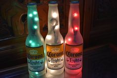 Your place to buy and sell all things handmade Beer Bottle Lights, Corona Bottle, Corona Beer, Old Wine Bottles, Recycled Wine Bottles, Beer Bottle Crafts, Beer Decorations, Light Beer, Frosted Glass
