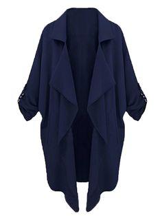 Blue lapel trench coat #Fall