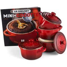 Le Creuset Set of 4 Mini Cocottes with Mini-Cocotte Cookbook ($100) ❤ liked on Polyvore featuring home, kitchen & dining, cookware, cherry, mini cocottes, le creuset stoneware, non-stick cookware, le creuset cookware and mini cookware