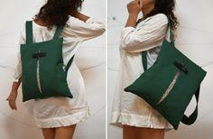 Convertible backpack Messenger bag Green canvas bag Floral