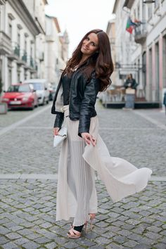 leather jacket+ sheer long skirt