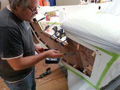 Fibreglassing work. Transom repair Shipwrights