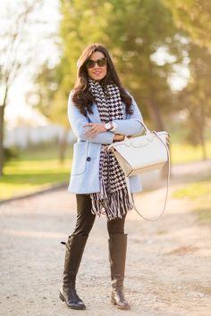 Longchamp, Scarf, Blue Coats, Dressed To Kill, Fall 2016, Daniel Wellington, Parisian, Baby Blue, Winter Outfits