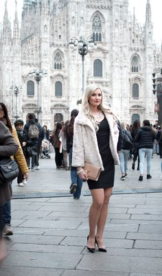 Teljänneito: Milano outfit for La Scala with LBD, Part Two fauxfur jacket, Christian Louboutin Pigalle, Louis Vuitton Louise bag and Lapponia Planetoid valleys jewelry
