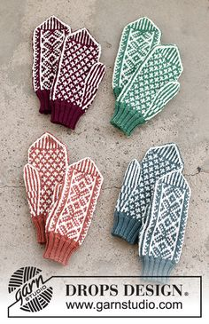Knitted Mittens Pattern, Knit Mittens, Knitting Patterns Free, Free Knitting, Free Pattern, Crochet Patterns, Drops Design, Magazine Drops, Knitting Gauge