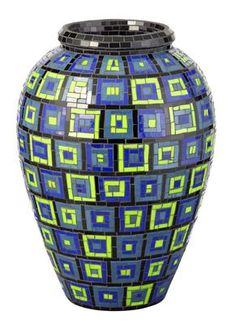 Mosaic vase. Geometric blue and green square pattern