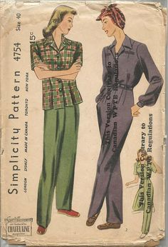1940s Rosie the Riveter Slacks Blouse For Factory Workers by kinseysue