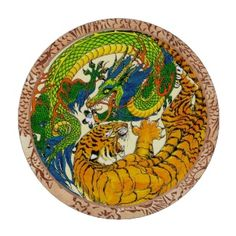 Classic Vintage oriental Yin Yang Dragon Tiger art set of Chipco Protech casino quality poker chips #classic #vintage #poker #chips #casino #tiger #dragon #fight #yinyang #symbol #yin #yang #lasvegas #art