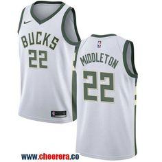 Men s Nike Milwaukee Bucks  22 Khris Middleton White NBA Swingman  Association Edition Jersey 06083a82d