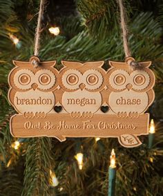 'Owl Be Home for Christmas' Three-Owl Personalized Wood Ornament