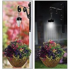Solar lights for over hanging baskets. no tutorial but you can easily create the one on the left using a standard solar light without the stake. enjoy your flowers longer. Garden Crafts, Garden Projects, Garden Art, Hanging Baskets, Hanging Plants, Plant Basket, Outdoor Lighting, Lighting Ideas, String Lighting