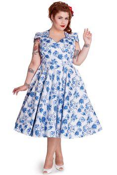 Hell Bunny Plus Miranda 50s Dress Blue Victorian Garden Party Flower Print Dress