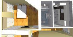 Vista de detalle de zona de dormitorio principal tipo suite, con baño anexo y cocina.