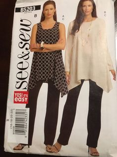 Butterick Pattern  B5203 See & Sew Misses Tunic Top Pants Size 16-18-20-22  #ButterickSeeSew