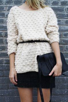 white knit + black skirt