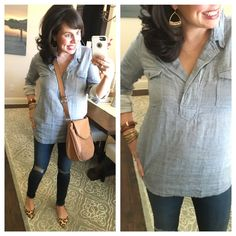 Pinterest Told Me To Casual Date, Casual Chic, Spring Summer Fashion, Spring Outfits, Spring 2016, Chambray Tunic, Khaki Jacket, Fashion Pictures, Cute Fashion