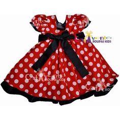 Vestido Infantil Festa Minnie Vermelho Luxo Com Tiara Minnie - R$ 84,90