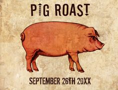 Pig Roast Invitations. Vintage postcards (front view). Easy to customize. Available in different colors and styles.