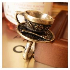Retro and Unique Style Coffee Cup Decorated Finger Ring - Perfect for a tea party where everyone is mad. #hatter #wonderland